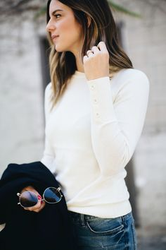 Blogger Michelle Madsen wearing Nautica soft Raglan sweater.