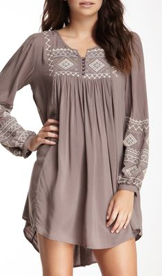 Embroidered Long Sleeve Woven Tunic Dress
