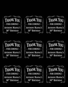 Personalized Whiskey Theme Thank You Printable Tags Birthday Party Favors