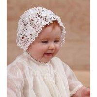 This Irish Crochet Bonnet is so beautiful. Definitely heirloom crochet. Christening Bonnet to Irish Crochet