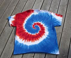 Red White & Blue Tie Dye Spiral Tee  Adult XL by MoonDyes on Etsy