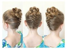 Flower Updo Tutorial - All For Hairstyles Kids Updo Hairstyles, Girls Hairdos, Girls Updo, Indian Wedding Hairstyles, Flower Girl Hairstyles, Spring Hairstyles, Little Girl Hairstyles, Trendy Hairstyles, Engagement Hairstyles