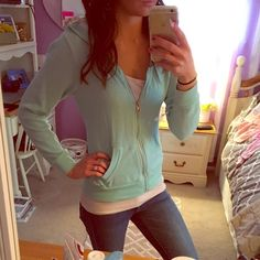 Beautiful like new blue green zip up comfy hoodie Pair with all different tees and tanks for a different look, super comfy and the pics don't do the color justice Charlotte Russe Tops