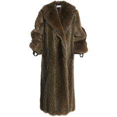 Loewe Ribbon Fur Coat (301.110 ARS) ❤ liked on Polyvore featuring outerwear, coats, brown coat, brown fur coat, fur coat and loewe