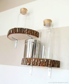 DIY Modern Industrial Wood Slice Shelves - just have to find nicer brackets for the shelves and these would be beautiful in woodland themed bedroom.