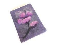 Felted notebook cover, journal notebook cover, violet gray pink poppy