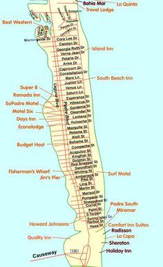 south padre island map - hotels/motels