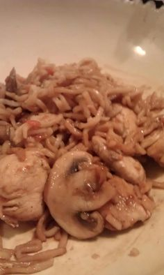 chicken lo mein! I added mushrooms to this recipe and used ramen noodles instead of spaghetti noodles... everyone loved it!