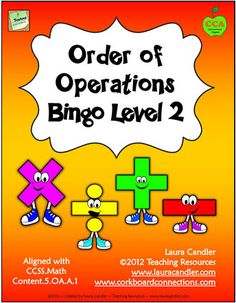 Order of Operations Bingo Level 2 is aligned with the 5th Grade Math Common Core Standards 5.0A.A.1 and includes strategies for reviewing order of operations. Along with the Bingo game, you'll find a review page and teaching suggestions to use as needed. Preview the game from this page to make sure the problems are right for your class. $