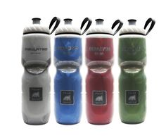 Leak- and spill-proof, these lightweight bottles are made from polyethylene, a plastic that is manufactured without BPA. Pros: They're easy to grab, thanks to contoured grips. A plastic loop around the bottle top makes them easy to carry. Cons: These basic bottles won't score any fashion points. (20-oz: in seven colors; 24-oz: in eight colors. Customized and personalized bottles also available; amazon.com)