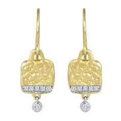 Hammered Yellow Gold Pave Diamond Edged Earrings