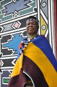 Traditionally Ndebele painted home in Nkangala, Mpumalanga, South Africa
