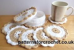Free crochet pattern coasters and coaster basket usa