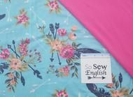 FT Aqua floral feathered arrows - Poly Rayon Spandex French Terry - By the yard