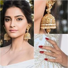 Sonam Kapoor in Antique Peacock Lakshmi Jhumkas - Indian Jewellery Designs Gold Jhumka Earrings, Gold Earrings Designs, Indian Earrings, Earings Gold, Indian Jewellery Design, Latest Jewellery, Jewelry Design, Antic Jewellery, Designer Jewelry