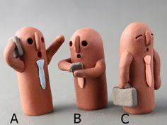 はにわ「サラリーマンはにわ」A、B、C |立体・オブジェ|はにわ堂|ハンドメイド通販・販売のCreema