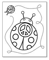 ladybug peace sign coloring page