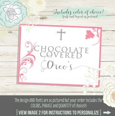 Buffet Labels for candy dessert table. Printable PDF file.