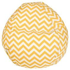 """Indoor/outdoor beanbag chair in yellow with a chevron motif and eco-friendly fill. Made in the USA. Product: BeanbagConstruction Material: Outdoor treated polyester cover and recycled polystyrene fillColor: Yellow and whiteFeatures: Zippered slipcoverSuitable for indoor and outdoor useMade in the USA Dimensions: 22"""" H x 28"""" DiameterCleaning and Care: Slipcover can be washed in cold water and with a mild detergent. Hang dry."""