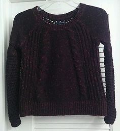 American Eagle Oufitters Black Red Chunky Knit Sweater Cotton Wool Juniors XS