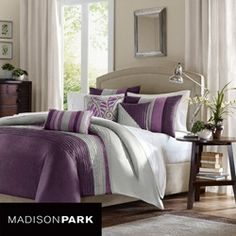 Madison Park Amherst Queen Size Bed Comforter Set Bed in A Bag - Purple, Grey, Pieced Stripes – 7 Pieces Bedding Sets – Ultra Soft Microfiber Bedroom Comforters Plum Comforter Set, Queen Size Comforter Sets, King Size Duvet Covers, Grey Bedding, Duvet Sets, Duvet Cover Sets, Purple Comforter, Neutral Bedding, King Comforter