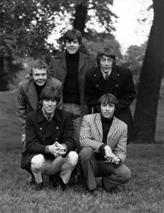 Pop group The Bee Gees, comprising of (back row left to right) drummer Colin…