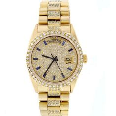 Pre-owned Rolex Day-Date 18K Yellow Gold Diamond Dial, Bezel &... ($12,850) ❤ liked on Polyvore featuring jewelry, watches, gold watches, 18k gold jewelry, diamond watches, gold jewellery and rolex watches