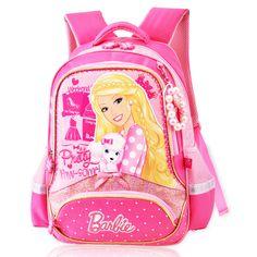 New Children Cartoon School Bag For Girls Students Princess Barbie School Backpack Gift Mochila Kids Gilrs PT526