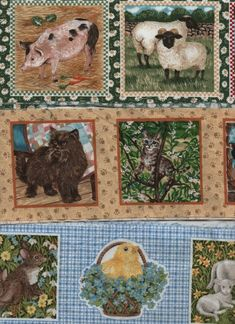 Pkt x 3 strips of cotton picture blocks for applique/card making/pincushions Cotton Pictures, Fabric Pictures, Flower Pictures, Tapestry Weaving, Tapestry Wall Hanging, Frames On Wall, Framed Wall Art, Spring Animals, Scrappy Quilts