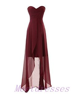 High-low Chiffon Bridesmaid Dress Simple Sweetheart Neckline Dark Wine Red Bridesmaid Gowns - Thumbnail 2