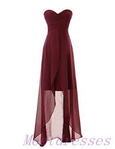 High-low Chiffon Bridesmaid Dress Simple Sweetheart Neckline Dark Wine Red Bridesmaid Gowns - Thumbnail 2