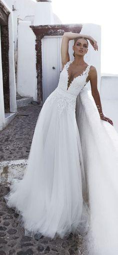 Beach Deep V neck Wedding Dress by Julie Vino / http://www.deerpearlflowers.com/deep-plunging-v-neck-wedding-dresses/