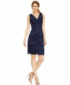 Marina Sequin Lace Tiered Dress and Jacket - Dresses - Women - Macy's