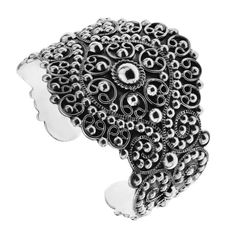 Najo Sterling Silver Oxidised Baroque Cuff With Beaded Pattern Bangle Oxidized Sterling Silver, Sterling Silver Bracelets, Bangle Bracelets, Bangles, Jewelry Branding, Fashion Accessories, Jewels, Earrings, Pattern