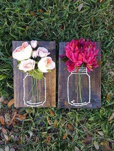 Mason Jar String Art Flower Holder  Hey, I found this really awesome Etsy listing at https://www.etsy.com/listing/503628128/mason-jar-string-art-with-silk-flowers