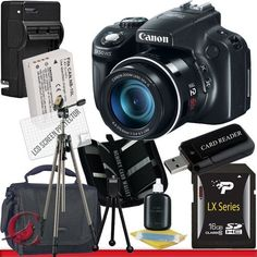 Canon PowerShot SX50 HS Digital Camera 16GB Package 5 by Canon. $489.99. Package Contents:  1- Canon PowerShot SX50 HS Digital Camera w/ All Supplied Accessories 1- 16GB SDHC Class 10 Memory Card 1- Rapid External Ac/Dc Charger Kit   1- USB Memory Card Reader  1- Rechargeable Lithium Ion Replacement Battery  1- Weather Resistant Carrying Case w/Strap  1- Pack of LCD Screen Protectors  1- Camera & Lens Cleaning Kit System  1- Mini Flexible Table Top Tripod 1- Me...