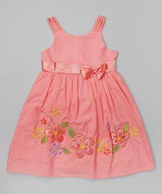 Look at this #zulilyfind! Coral & Yellow Flower Bow Dress - Toddler & Girls #zulilyfinds