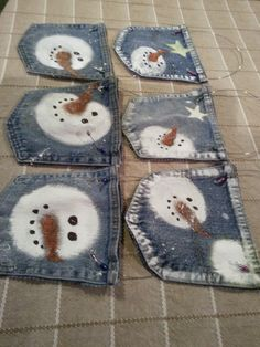 Cut the pockets off old jeans with pinking shears, cut both layers so you have a pocket when you are finished. Paint snowman faces, add a wire hanger and place on the tree. I added a treat to each pocket for the Grandkids to enjoy. (snowman crafts name) Christmas Snowman, Rustic Christmas, Winter Christmas, Christmas Ornaments, Jean Crafts, Denim Crafts, Snowman Crafts, Snowman Ornaments, Snowmen