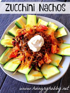 Jam pack nacho night full of veggies by substituting zucchini's for chips! Crunchy, spicy, cheesy and good for you!