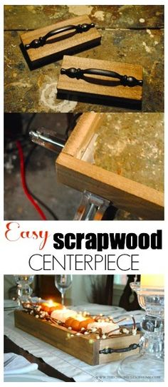 Easy Wooden Tray Centerpiece made from scrap wood Small Wood Projects, Scrap Wood Projects, Beginner Woodworking Projects, Custom Woodworking, Woodworking Tools, Welding Projects, Diy Projects, Scrap Wood Crafts, Wood Scraps