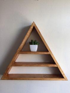 Triangle shelf display shelf crystals gems by Lovelifewood on Etsy