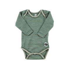 Merino Wool Green and Grey Striped L/S Bodysuit on Etsy, £27.00