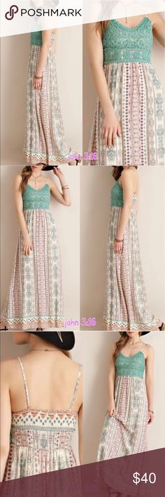 Boho chic maxi The perfect maxi for the warmer months 👗 gorgeous floral print with detailed bodice.   ✔️crochet bodice  ✔️adjustable straps ✔️100% rayon  ✔️bust  34 / 36 / 38 Boutique Dresses Maxi
