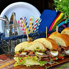 Grilled Beef Cobb Sandwich - a giant sandwich filled with tender grilled beef, lettuce, boiled eggs, tomatoes, and bacon; topped with a delicious avocado ranch spread. : ladybehindthecurtain