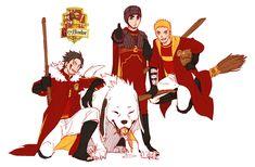 Naruto and Harry Potter crossover. Naruto, Lee, Kiba, and Akamaru. Naruto Uzumaki, Neji E Tenten, Naruto Art, Gaara, Anime Naruto, Hinata, Boruto, Sasuke, Harry Potter Crossover