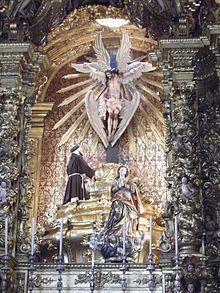 Barroco no Brasil – São Francisco e o Cristo seráfico, e abaixo, Nossa Senhora da Conceição, altar-mor da Igreja da Ordem Terceira de São Francisco da Penitência, Rio