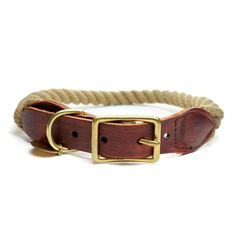 Rope, Reclaimed Leather and Solid Brass Hardware    Love this! There's a rope leash to match
