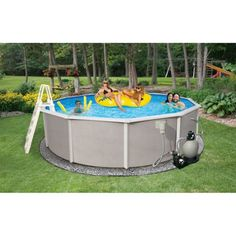 Blue Wave Round 24' x 48 inch Deep Belize 6 inch Top Rail Metal-Walled Swimming Pool, Brown