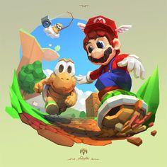 Super Mario 64 Fan Art - Created by Cássio Yoshiyaki Shibukawa Super Mario Kunst, Super Mario Rpg, Super Mario Games, Super Mario World, Yoshi, Mario Und Luigi, Donkey Kong, Pokemon, Super Mario Brothers