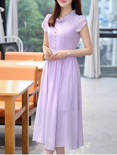 Stylish Ruffle Collar High Waisted Chiffon Dress For Women Kurti Neck Designs, Kurti Designs Party Wear, Blouse Designs, Trendy Dresses, Casual Dresses, Fashion Dresses, Designs For Dresses, Chiffon Maxi Dress, Purple Dress